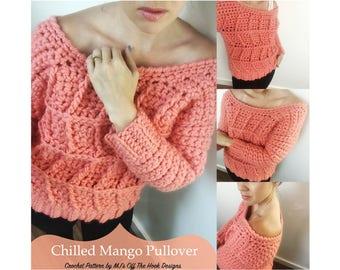 Pullover Top Crochet Pattern - Crochet Pattern for Pullover Sweater - Chilled Mango Pullover Crochet PATTERN by MJ's Off The Hook Designs