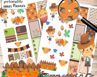 stickers imprimable automne - printable stickers happy planner