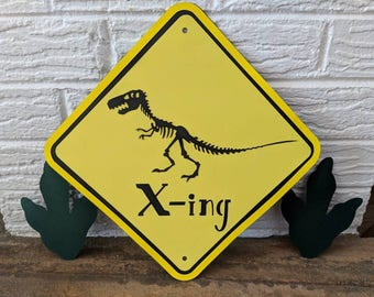 Dinosaur Crossing Sign/ Dinosaur Birthday Decorations