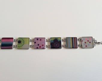 Resin bracelet purple, pink, green, blue, grey and Burgundy.