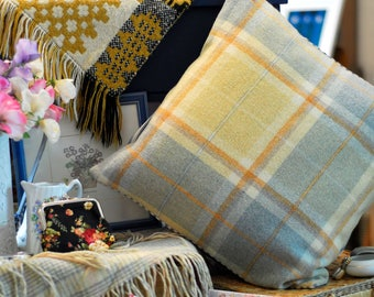 "Welsh Plaid Cushion, 18x18"" handmade cushion, Blue and Yellow Welsh Wool Cushion, Welsh Plaid Blanket cushion, Handmade in Wales"