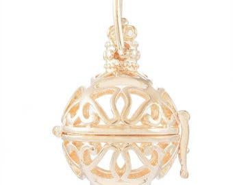 x 1 pendentif cage de Bali Bola Mexicaine motif papillon pour bille d'Harmonie Bébé métal doré 3,4 x 2,7 cm