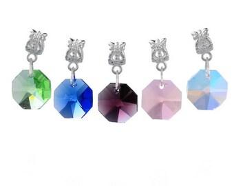 x 5 mixed pendants Octagon European bracelet charm 28 mm x 14 mm