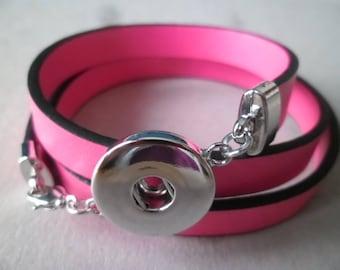 x 1 fuchsia multi strand for snap button silver 60 cm leather bracelet
