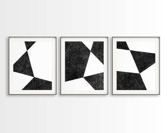 3 geometric drawings black white art set of 3 art prints triangle art