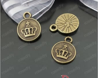 10 charms in bronze 15MM D24818 Imperial Crown