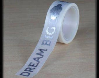 "Washi tape ""dream big"" and silver on white 15mm x 3 m clouds"