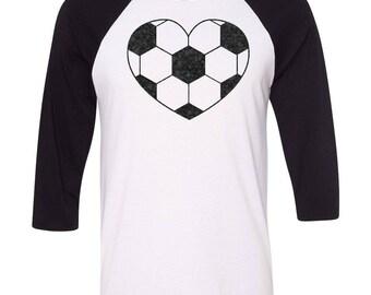 Soccer heart baseball raglan, Valentines day Shirt, Soccer Mom shirt, Soccer Girl, Soccer themed tank, Football, Soccer Gift, soccer shirt