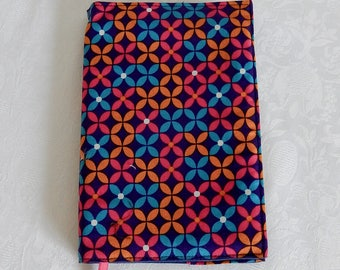 Protects pocket book, diary, graphic, turquoise, fuchsia and yellow, lined in Navy blue cotton