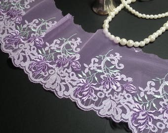 1yd (0.91m) of Embroidered Tulle Lace-  Light purple with floral pattern - 10.5cm(4.13inch) Wide,RL_EM004