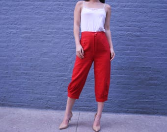 1970s Wool Capris | Women's Cropped Pans | Size 6 Pants | High Waisted Pants | Retro Red Pants |