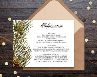 Pine Wedding Info Cards Forest Wedding Printable Information Cards Rustic Wedding Details Cards Template Pinecones Wedding Direction Cards