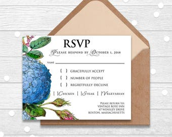Hydrangea RSVP Cards Garden Floral Wedding Rsvp Template Printable Wedding Response Cards Hydrangea Flower Rustic Outdoor Wedding Postcards