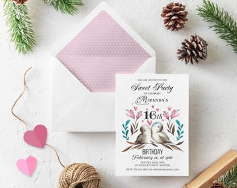 Sweet Sixteen Invitation Valentine 16 Birthday Party Printable Invite Watercolor Love Birds Floral Birthday Invitation Template Downloadable