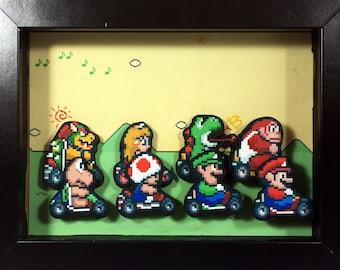 Mario Kart Shadow Box | SNES Shadow Box | Nintendo | Mario Shadow Box | Bowser | Luigi | Toad | Yoshi | Donkey Kong | Princess Peach