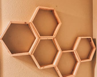 "Set of 5 Medium Hexagon/Honeycomb Shelves (Reclaimed Wood) 2"" Deep"
