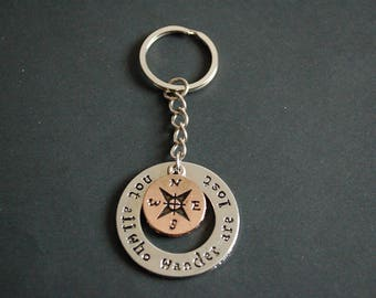 Not all those who wander are lost Tolkien compass Keychain Keyring
