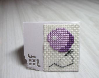 "Mini Card embroidered square ""Purple ball"" brand"