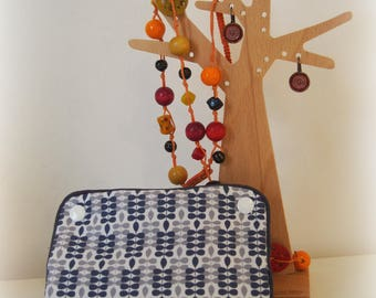 Case/pouch with jewels of journey in shades of Navy Blue and gray