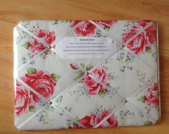 Handcrafted Notice message board in Cath Kidston Classic Rose fabric