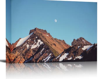 Rocky Mountains Blue Sky Art Print Wall Decor Image - Canvas Stretched Framed