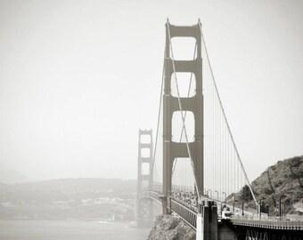 Canvas Print, Black White San Francisco Print Art, Black White Landscape Golden Gate Bridge Photography, Monochrome Beautiful Sunset Picture