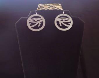 Wooden Eye of Ra earrings