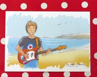 "Card ""The little Fanfan guitarist"" 10x15cm"