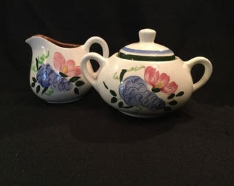 Spangl Pottery| SugarBowl and Creamer|Fruit and Flowers