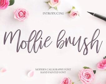 Calligraphy Font Handwritten Script Wedding Watercolor Instant Download - Mollie brush Font