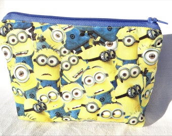 Pretty clutch/pouch fabric - cottons and jeans, Minions