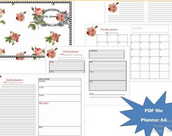Flower blog-organizer, Blog Planner, Format A4, Print, Planner for the month, Planner for the week, Planner for the day, hourly scheduler