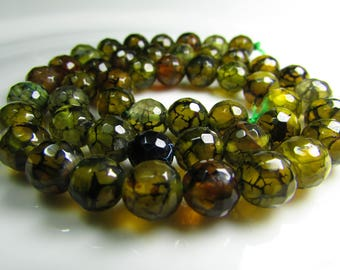 Set of 5 beads 8 mm dragon vein faceted Agate