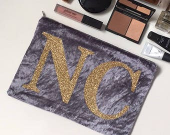 Grey Velvet Crush Monogram Clutch Bag