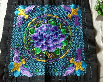 Purple Flower Embroidered, Hand Embroidered Hmong Fabric, Thai Hill Tribe, Hmong Textile, Hill Tribe Handmade.