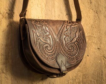 Leather Saddle bag Tooled leather purse Crossbody bag Pattern tooled bag Leather handbag Leather crossbody Shoulder bag