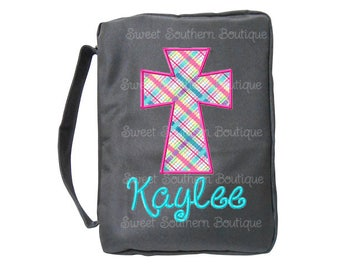 Bible cover personalized monogram monogrammed name initial letter chevron quatrefoil bag christmas gift birthday embroidered embroidery tote