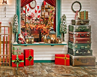 5X7ft Christmas Window Photography Backdrops Wood Floor Photo Backdrops
