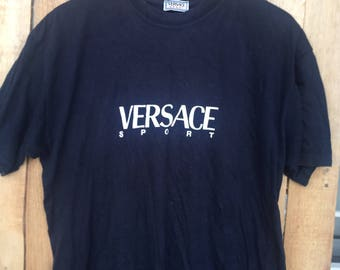 Vintage Versace Sport Embroidery Medusa T-Shirt Fashion Couture Designer Swag Wear Top Tee