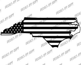 North Carolina State US Flag Outline Car Decal Charlotte Raleigh Greensboro Durham