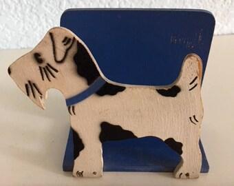 Vintage Terrier Wooden Card Holder