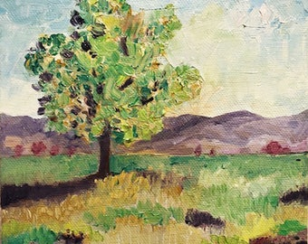 Tree in Field I, oil painting, by C.J. Swanson