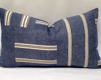 "12 x 22"" Ralph Lauren Denim Striped Pillow Cover - Designer Fabric - Ralph Lauren Throw Pillow -Denim Accent Pillow - Designer Throw Pillow"