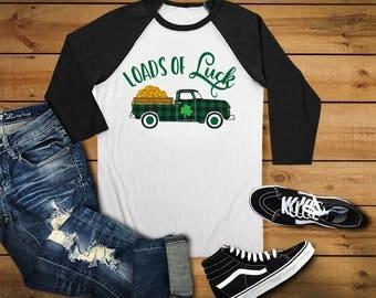 Loads of Luck, St. Patty's Day, Buffalo Check, Vintage Pickup Truck, Baseball 3/4 sleeve raglan shirt
