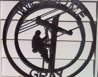 Lineman 24'' metal sign