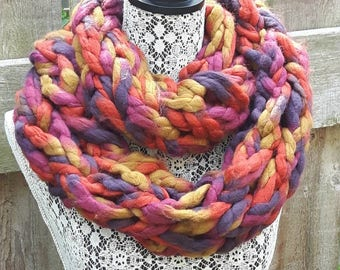 Scarf, Multicolored Scarf, Scarf, Winter Scarf, Accessory, Pink, Purple, Gold, Red