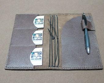 Medium Brown Pebble Grain Leather Travel Notebook, Travel Notebook, Personal Notebook, Personal Planner, Travel Journal, Refillable Notebook