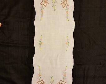 Vintage Linen Emboidered Table Runner