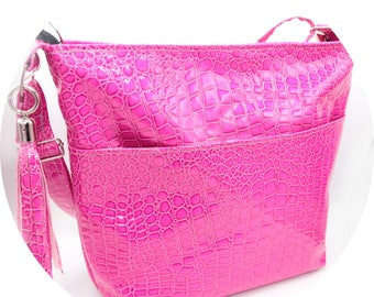Zippered Tote Bag - Pink, Hot Pink, Shocking Pink, Crocodile, Faux Leather, Handmade, Handcrafted