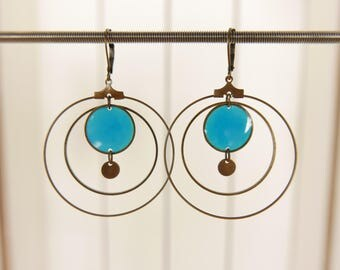Earrings Creole and transparent resin